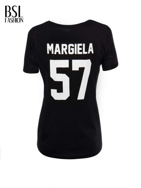 Czarny t-shirt z nadrukiem numerycznym AZZEDINE 40 z tyłu                                  zdj.                                  3