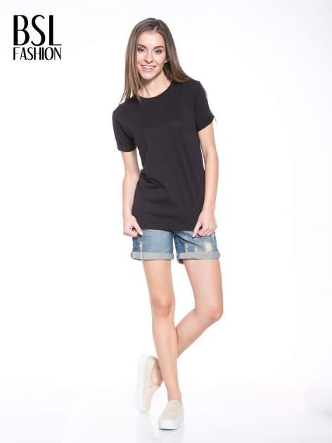 Czarny t-shirt z nadrukiem numerycznym KAWAKUBO 42 z tyłu                                   zdj.                                  6