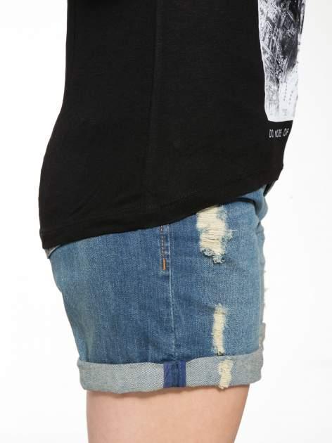 Czarny t-shirt z nadrukiem wieży Eiffla                                  zdj.                                  9