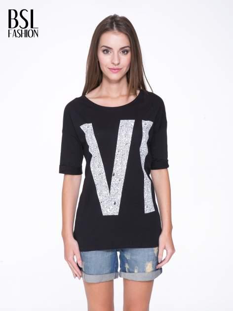 Czarny t-shirt z nadukiem WIBE z przodu i na plecach