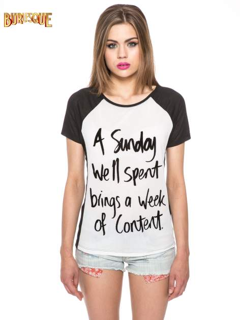 Czarny t-shirt z napisem A SUNDAY                                  zdj.                                  12