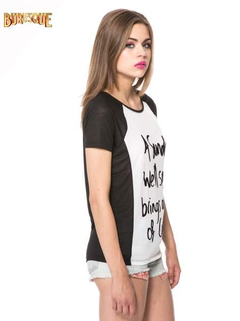 Czarny t-shirt z napisem A SUNDAY                                  zdj.                                  3