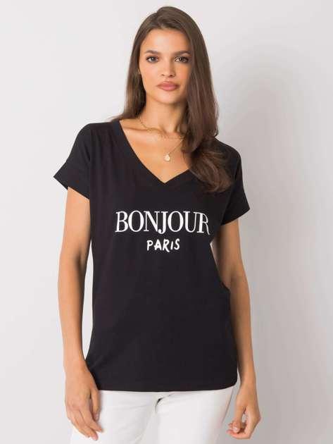 Czarny t-shirt z napisem Emille
