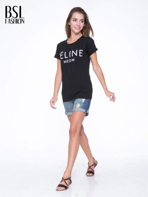 Czarny t-shirt z napisem FÉLINE MEOW                                  zdj.                                  5