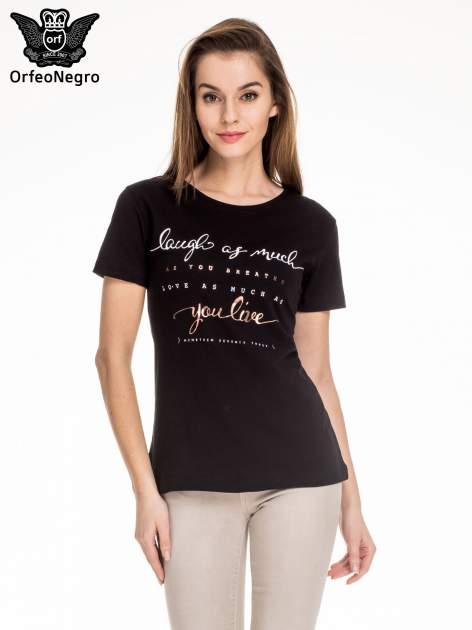 Czarny t-shirt z napisem LAUGH AS MUCH