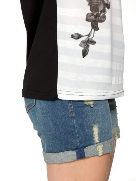 Czarny t-shirt z napisem MAD i kwiatowym nadrukiem                                  zdj.                                  8