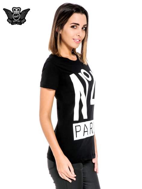 Czarny t-shirt z napisem NO. 4 PARIS                                  zdj.                                  3