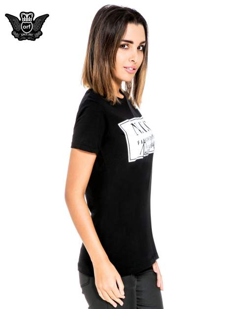 Czarny t-shirt z napisem NYC Brooklyn                                  zdj.                                  3