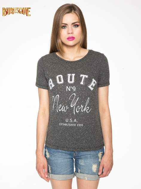 Czarny t-shirt z napisem ROUTE NEW YORK                                  zdj.                                  11