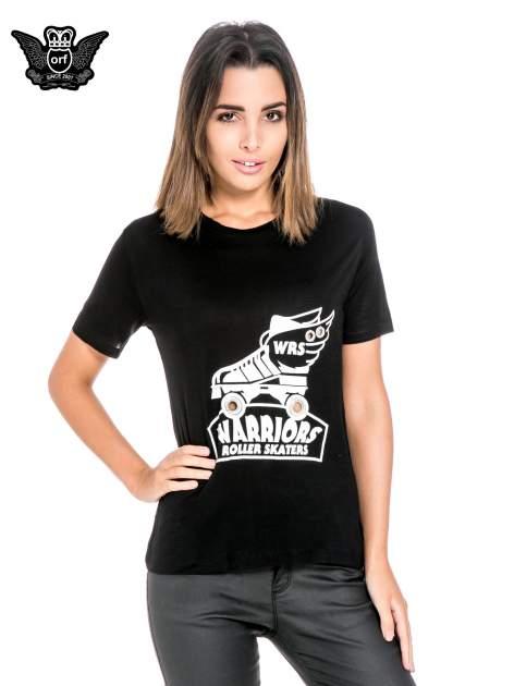 Czarny t-shirt z napisem WARRIORS ROLLER SKATERS                                  zdj.                                  1