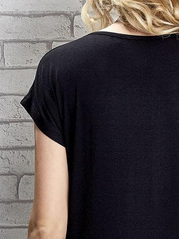 Czarny t-shirt z napisem YOU ARE STAR IN MY HEART z dżetami                                  zdj.                                  6
