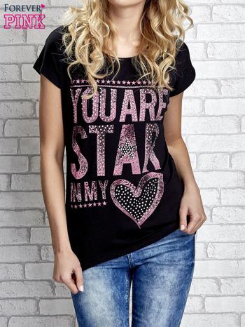 Czarny t-shirt z napisem YOU ARE STAR IN MY HEART z dżetami                                  zdj.                                  1