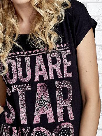 Czarny t-shirt z napisem YOU ARE STAR IN MY HEART z dżetami                                  zdj.                                  5