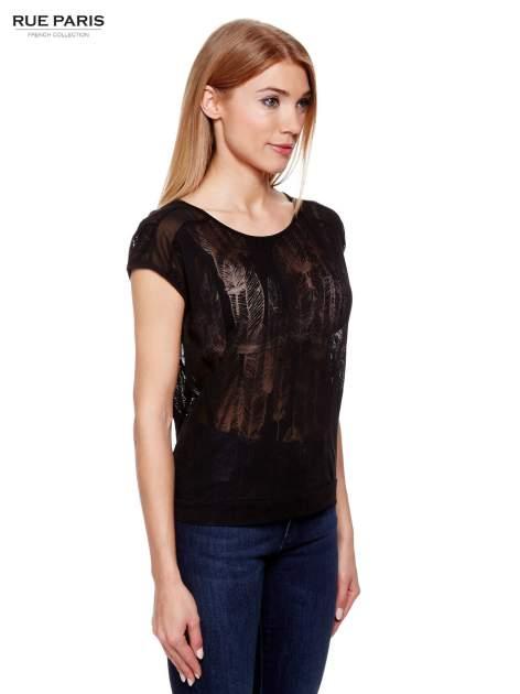 Czarny t-shirt z transparentnym nadrukiem piór                                  zdj.                                  3