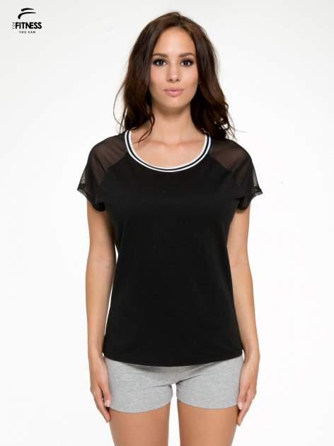 Czarny t-shirt z transparentnymi rękawami                                  zdj.                                  1