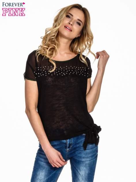 Czarny t-shirt z wiązaniem z boku                                  zdj.                                  1