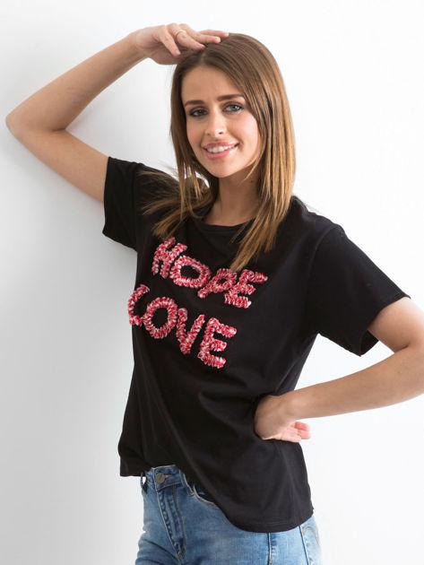 Czarny t-shirt Hoppin                              zdj.                              3