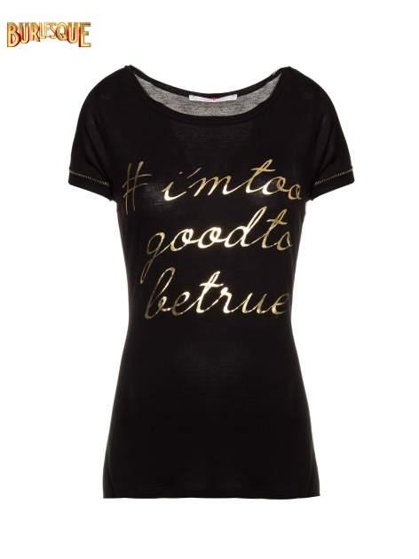 Czarny t-shirt ze złotym hasztagiem                                  zdj.                                  1