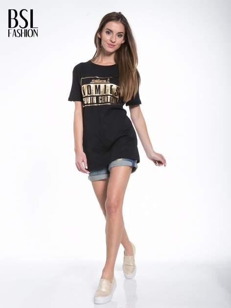 Czarny t-shirt ze złotym nadrukiem HOMIES SOUTH CENTRAL                                  zdj.                                  5