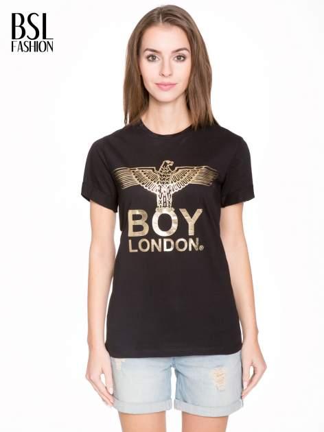 Czarny t-shirt ze złotym nadrukiem orła i napisem BOY LONDON                                  zdj.                                  1