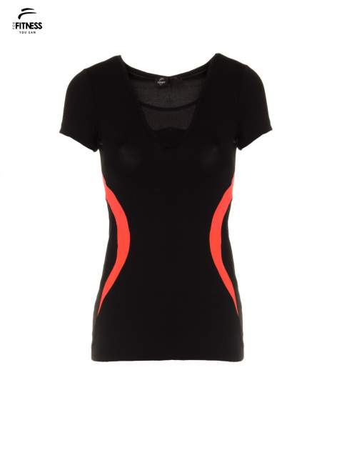 Czarny termoaktywny t-shirt sportowy z siateczką przy dekolcie z fluoróżową wstawką ♦ Performance RUN                                  zdj.                                  2