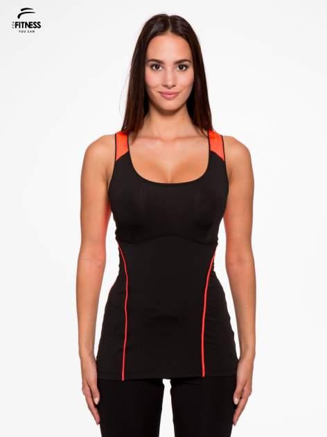 Czarny termoaktywny top sportowy z siateczką z tyłu i fluoróżowymi wstawkami ♦ Performance RUN                                  zdj.                                  1