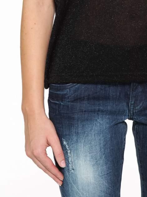 Czarny transparentny t-shirt przeplatany srebrną nicią                                  zdj.                                  7
