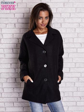 Czarny wełniany płaszcz z kieszeniami i kołnierzem