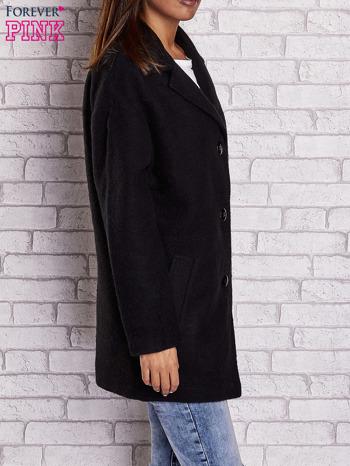 Czarny wełniany płaszcz z kieszeniami i kołnierzem                              zdj.                              4
