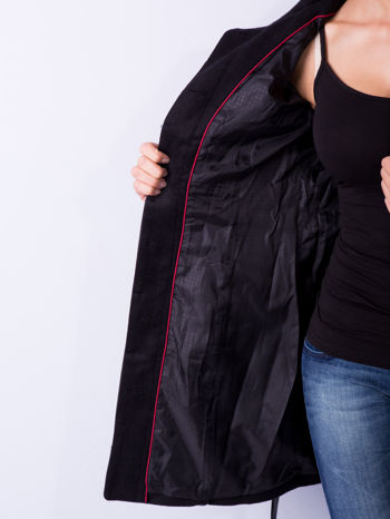 Czarny wełniany płaszcz ze skórzanym paskiem                                  zdj.                                  8