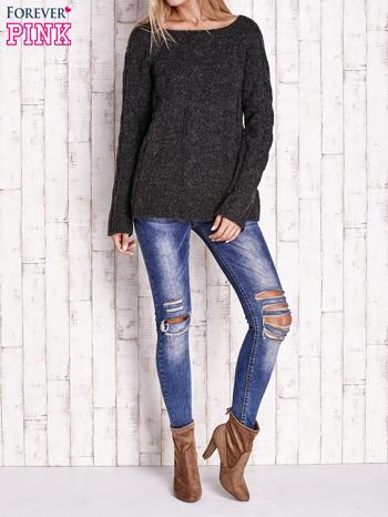 Czarny wełniany sweter z warkoczowym splotem                                  zdj.                                  2