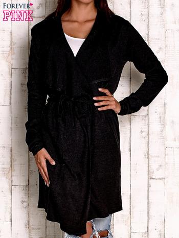 Czarny wełniany sweter z wiązaniem                                  zdj.                                  1
