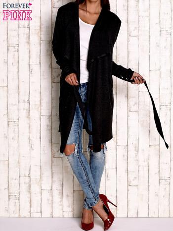 Czarny wełniany sweter z wiązaniem                                  zdj.                                  2