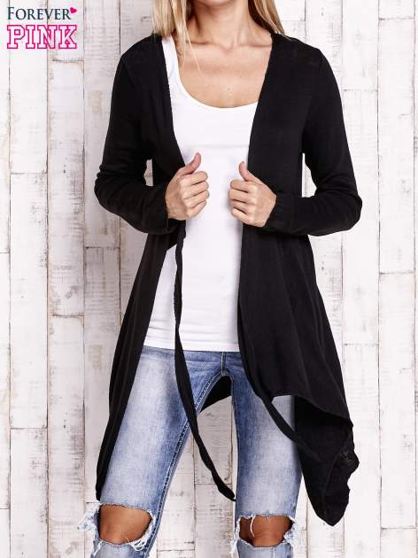 Czarny wiązany asymetryczny sweter                                  zdj.                                  5