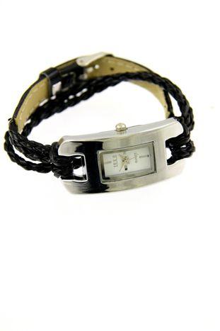 Czarny zegarek damski na długim plecionym pasku