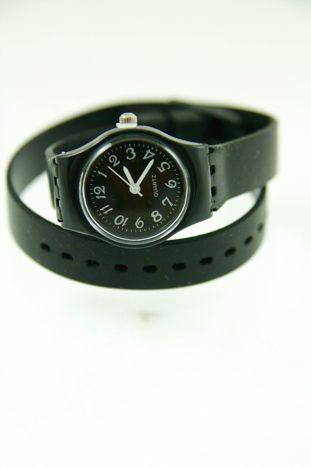 Czarny zegarek damski na silikonowym pasku