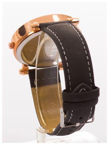 Czarny zegarek damski na skórzanej bransolecie                                  zdj.                                  4