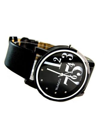 Czarny zegarek damski z cyrkoniami na pasku