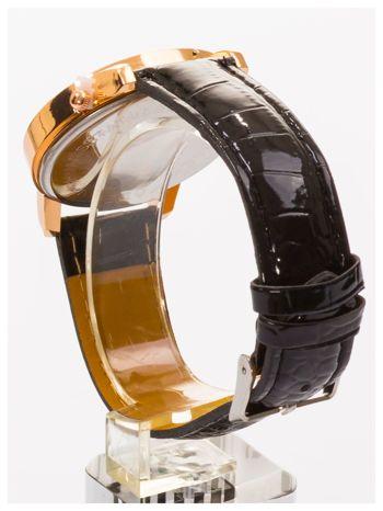 Czarny zegarek damski z cyrkoniami na skórzanym pasku                                  zdj.                                  4