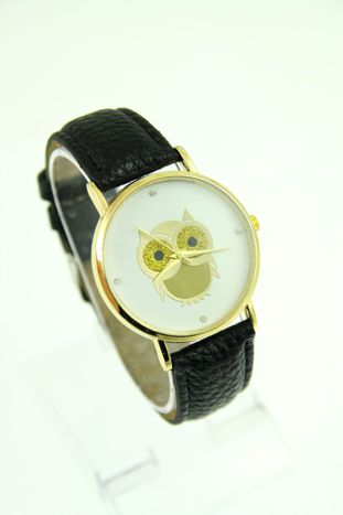 Czarny zegarek damski z sową na skórzanym pasku                                  zdj.                                  1