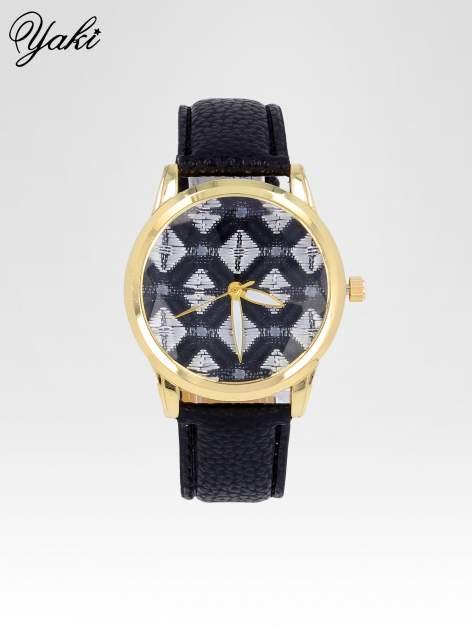 Czarny zegarek damski ze złotą kopertą i etno tarczą                                  zdj.                                  1