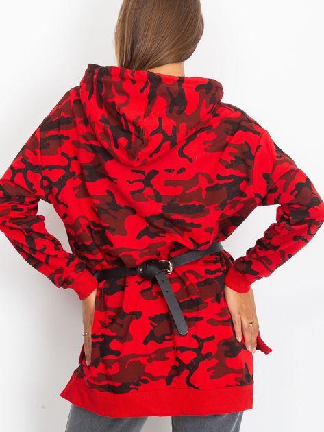 Czerwona asymetryczna bluza moro z kapturem                              zdj.                              4