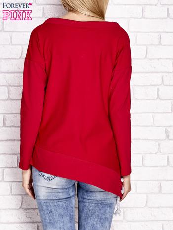 Czerwona asymetryczna bluza z troczkami                                  zdj.                                  4