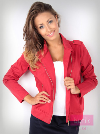 Czerwona bluza dresowa o kroju ramoneski                                  zdj.                                  3