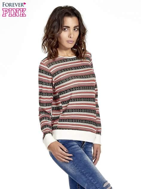 Czerwona bluza w azteckie wzory                                  zdj.                                  3