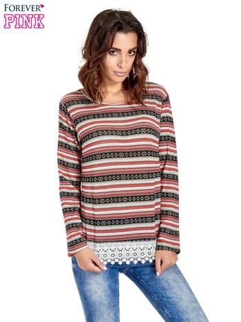 Czerwona bluza w azteckie wzory z koronką