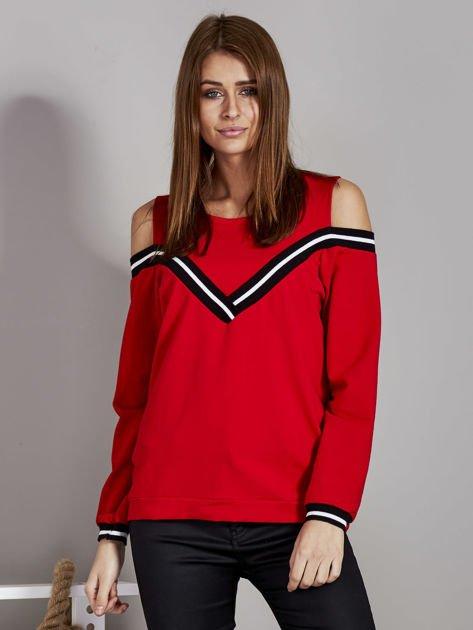 Czerwona bluza z ukośnymi ściągaczami                              zdj.                              1