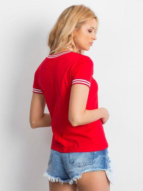 Czerwona bluzka ze ściągaczami                              zdj.                              2