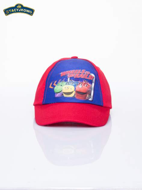 Czerwona chłopięca czapka z daszkiem STACYJKOWO                                  zdj.                                  1