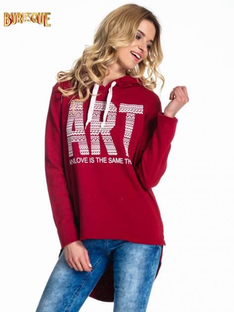Czerwona damska bluza z kapturem i napisem ART